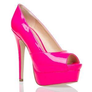 SHOEDAZZLE SHAKIRAH NWT neon vinyl platform heels